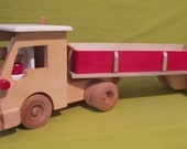Wooden Handmade Trailer Truck - Natural Cab with Red and Natural Trailer - Non-toxic Paint & Water Base Finish