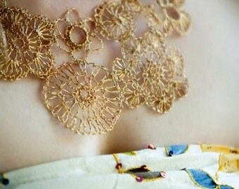 Crochet Wire : asymmetrical crocheted wire necklace gold color copper wire crochet ...