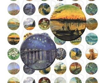 99 Cent Sale - Vincent Van Gogh Paintings - Digital Collage Sheet  - 1 inch Round Circles - INSTANT DOWNLOAD