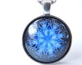 Snowflake Pendant Necklace, Blue Kaleidoscope Necklace, Snowflake Necklace, Pendant Necklace, Art Print Necklace, Trendy Necklace. A242
