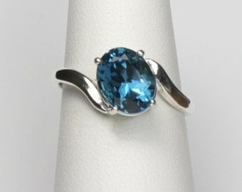 Genuine 2.5ct London Blue Topaz .925 Sterling Silver Ring