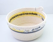 LIMITED EDITION // Fabric Wrapped Rope Bowl LARGE // Yellow and Grey - Zillpa