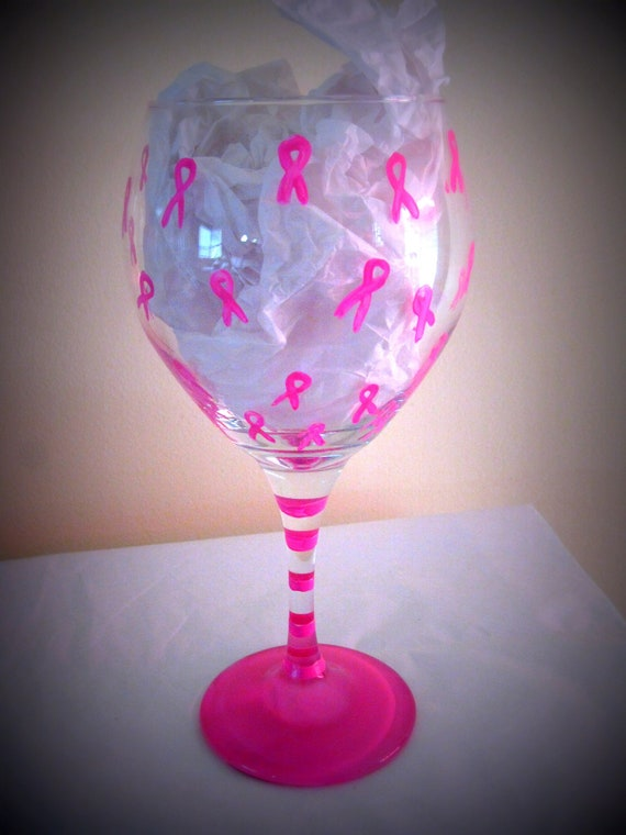 Breast Cancer Painted Wine Glass