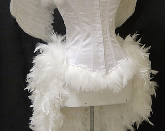Size XS-White Angel Burlesque Feather Costume with Wings