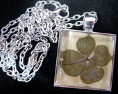 SALE - Lucky Four-Leaf Clover Pendant Necklace - Silver Plated / Small