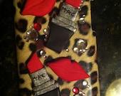 iPOD case in leopard print with MAC lipstick & lip cabochons