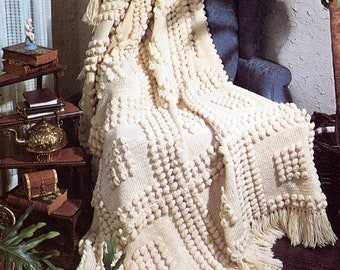 Thick Winter Warm Bobble Stitch Knit Afghan Pattern