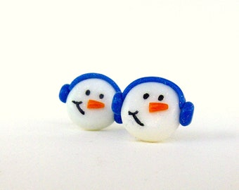 Snowman with Earmuffs winter polymer clay post earrings
