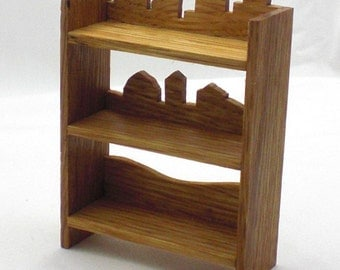 Dollhouse Furniture, Miniature Oak Shelves - Silhouette Country Farm City, Mini Shelf, Dollhouse Mini, Dollhouse Miniature Furniture
