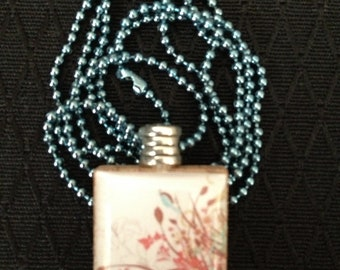 Flowers & Cattails with Bluebird Scrabble Tile pendant necklace on ball chain