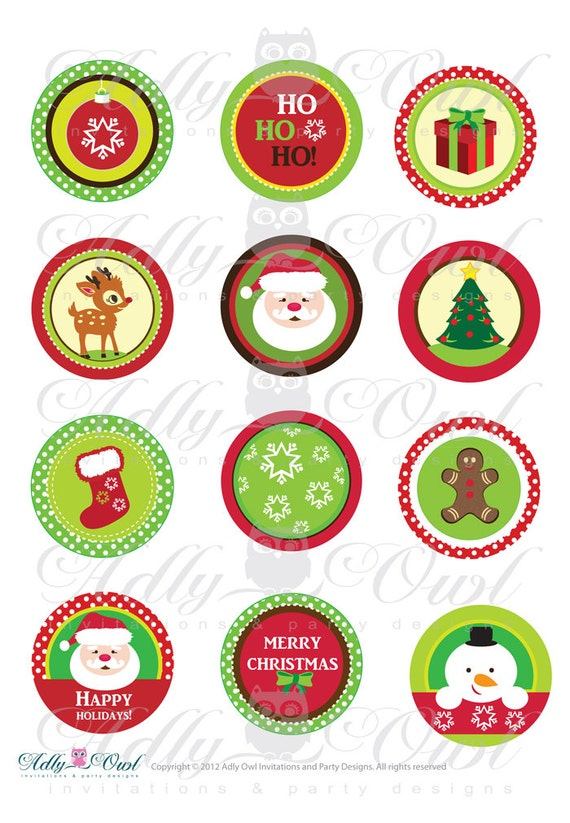 happy holiday merry christmas 2 inch santa printable cupcake. Black Bedroom Furniture Sets. Home Design Ideas