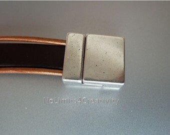 2 clasps - 13mm zamak magnetic clasp for flat leather  (2 clasps) (ZC18)