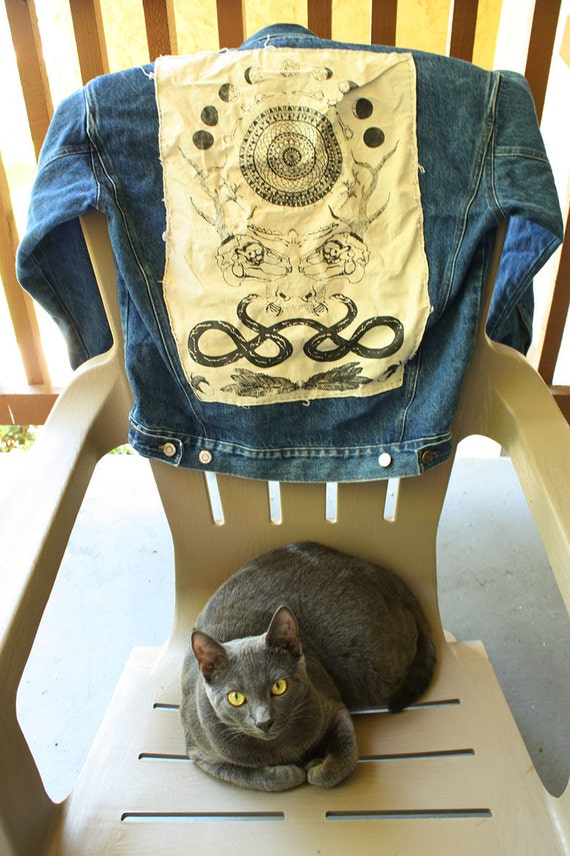 Reconstructed Jean Jacket with Grey Hood and Back Patch