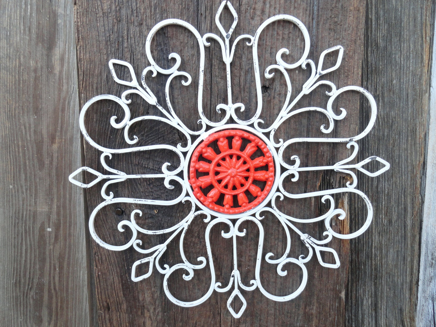 Wrought Iron/ Wall Decor/Metal Wall Art/White Wall By