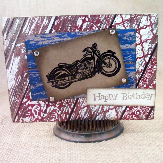 Items Similar To Vintage Motorcycle Birthday Card On Etsy