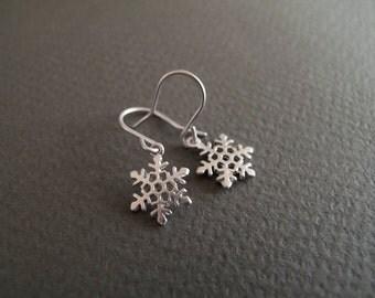 Snowflake Earrings - Rhodium Plated Earrings - Small Flakes Earrings