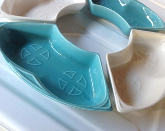 california pottery lazy susan party trays snack trays blue and white maurice california chip