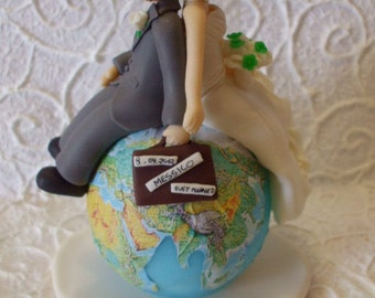 Personalized travelling bride and groom wedding cake topper