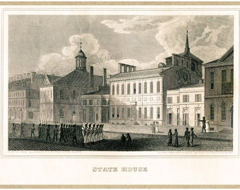 Antique Philadelphia Print - The State House - Independence Hall - 1828