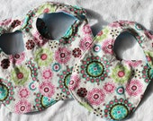 "Baby Bib - Multi color ""Snowflake"" Circles - Teal Flannel on reverse side"