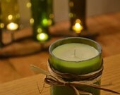 Recycled Wine Bottle Soy Candle // GREEN glass // 4in