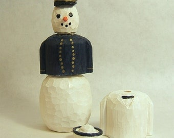 Snowman Wood Carving Naval Academy Midshipman Art Sculpture Figurine