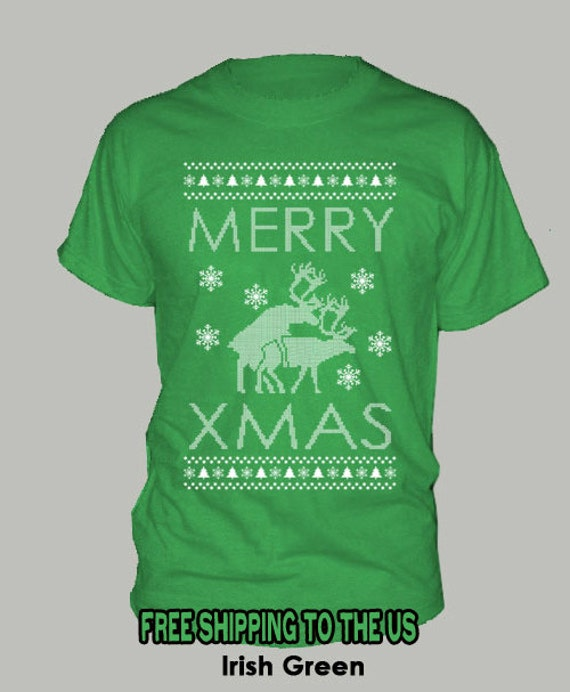 HUMPING REINDEER T-SHIRT Merry Xmas funny ugly christmas not