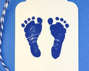 Baby Boy Shower Tags, Set of 10 Hand Stamped Tags, Blue Baby Feet Stamp Tags, Footprints, Baby Footprint Stamp, Blue Baby Shower, Favor Tags