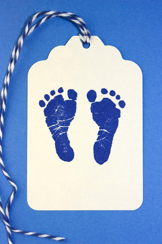 baby boy shower tags set of 10 hand stamped tags blue baby etsy