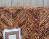 SALE - Queen Headboard Wood Chevron Reclaimed Pallet Wood - Chevron Wall Art - Reclaimed Wood Headboard - Reclaimed Wood Art