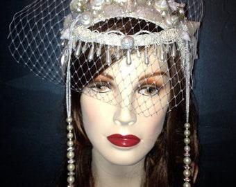 Mermaid Wedding / Siren Goddess White Enchantress Renaissance Headdress Veil