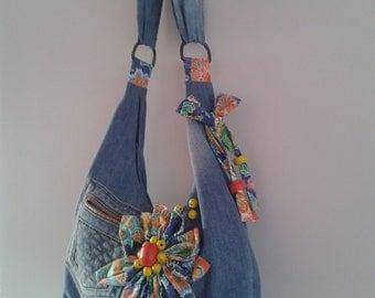 Jeans/denim bag with flower