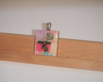 Scrabble Tile Necklace--Lomography Diana F Plus: Mr. Pink
