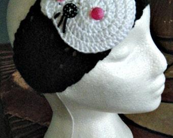 Black White Pink Hello Kitty Winter Headband