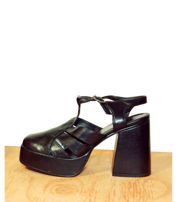 90s Black Cut Out Platform Chunky Heel Clogs with Ankle Strap 90s 1990s Grunge Size womens 8.5