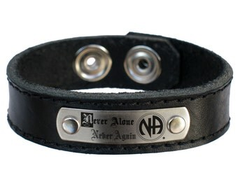 Narcotics Anonymous NA Never Alone Never Again Leather Bracelet Free US shipping