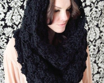 SCARF CROCHET PATTERN Hooded Cowl Convertible Wrap Over sized The Manhattan