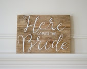 Reclaimed Wood Art Sign: Here Comes The Bride Wedding