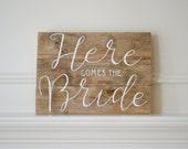 Reclaimed Wood Art Sign: Here Comes The Bride Ring Bearer Flower Girl Sign