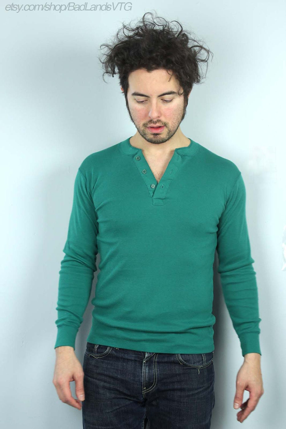 1970s mens teal green fitted henley shirt sz small