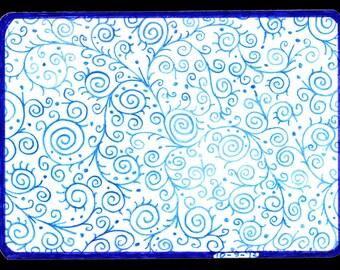 Blue Swirls ACEO