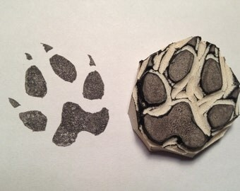 Wolf Paw Print Stamp - Wolf Stamp - Hand Carved Stamp - Rubber Stamp
