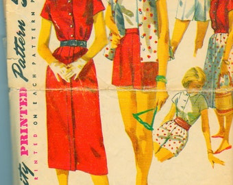 Simplicity 1590 Vintage 1950s Shorts, Skirt, Cami and Skirt  Sewing Pattern Bust 32 Inches