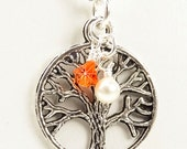 Multiple Sclerosis Necklace, Silver Tree of Life Pendant with White Pearl and Orange Swarovski Crystals MS Necklace - Kelly NMS0072