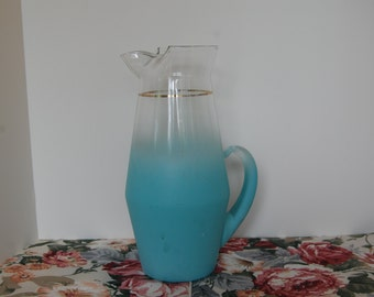 """Vintage Glass Pitcher, Blendo Pitcher, Frosted Blue Pitcher, 12"""" Blendo Pitcher"""