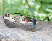 Vintage classic aviator sunglasses mirrored silver Polarized lenses.
