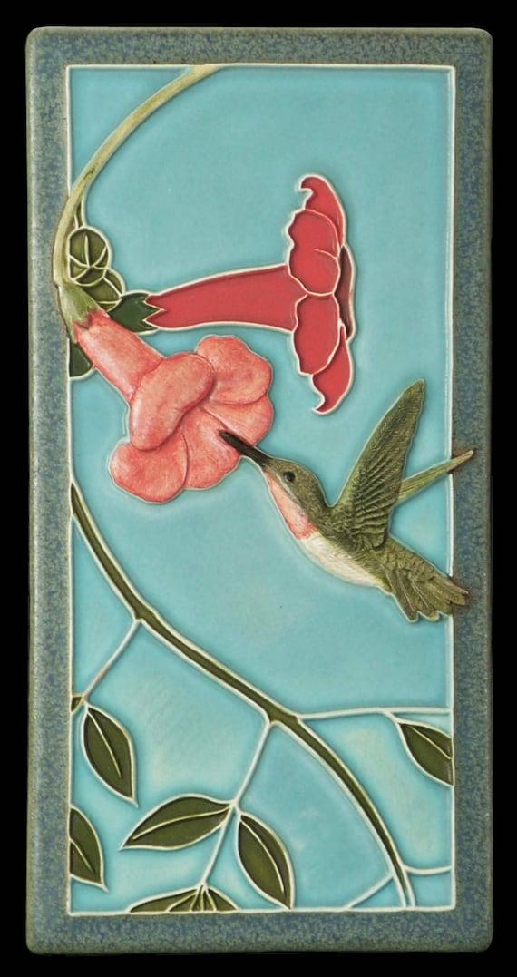 Art tile, Ceramic tile, wall art, animal art, tile, Hummingbird 1, 4x8 inches, decorative wall tile