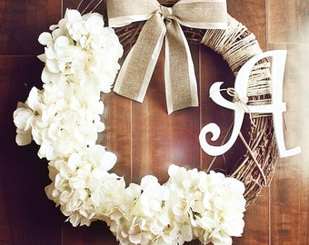 Monogrammed White Hydrangea Grapevine Wreath with a Satin & Burlap Bow.