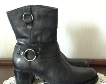 Harley Davidson Black Leather Ankle Boots Womens Size 6