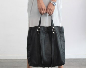 Black  leather tote bag- Grace bag